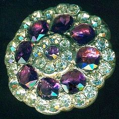 Exquisite Georgian Button...Grain Set Purple & Clear Paste in Silver.