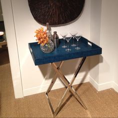 Artistica Purveyor High Low table in stainless steel & aqua raffia. Accent Furniture, Cool Furniture, Butler Tray, Bar Tray, Low Coffee Table, Alcoves, Global Home, Tv Trays, Low Tables