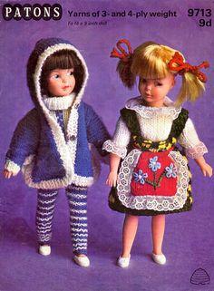 PDF Vintage 1960s  Sindy Barbie Patch Knitting Pattern Patons Bobbin Lace Patterns, Vintage Crochet Patterns, Vintage Knitting, Knitting Patterns, Craft Patterns, Doll Clothes Patterns, Clothing Patterns, Knitted Stuffed Animals, Folk Costume