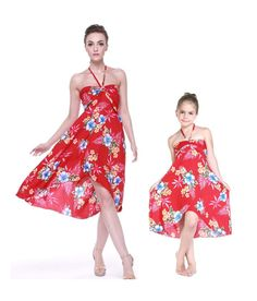 a5bc98bd9b Matching Mother and Daughter Women and Girl Butterfly Dresses in Hibiscus  Red. Hawaii Hangover
