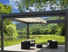 Stunning Pergola Covers Make Comfort of Your Patio: Retractable Canopy For Pergola Covers With Resin Wicker Outdoor Furniture And Outdoor Cushions Also Wood Decks With Lawn And River For Backyard Gazebo And Patio Design With Exterior Ideas Pergola Canopy, Backyard Pergola, Pergola Shade, Backyard Landscaping, Patio Shade, Garden Shade, Cheap Pergola, Garden Canopy, Tree Canopy