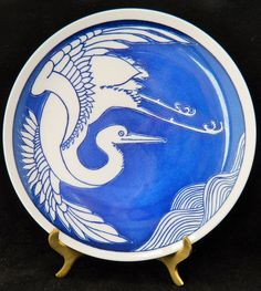 Vandor Collector Plate By Nancy Gest White Crane Asian Design Made in Japan 8""