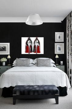 Gray And Red Bedroom Ideas more red, black and white! striking! want to see more? www