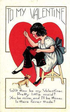 to my valentine.  #vintage #postcard