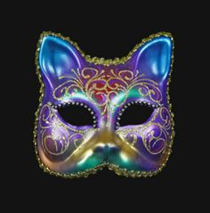 MASQUE DE VENISE CHAT EN PAPIER MACHE e STRASS- 1710 V21