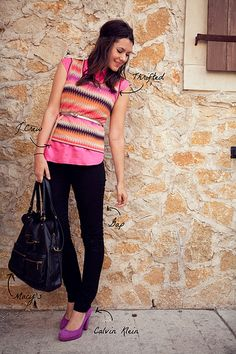 Love the thrift store sweater vest, pink shirt, and purple shoes.  I will also admit that I'm slightly obsessed with her blog....