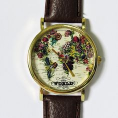 The World in Full Bloom Map Floral Watch, Vintage Style Leather Watch, Women Watches,Mens Watch, Boyfriend Watch