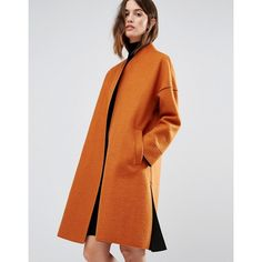 Warehouse Bonded Contrast Coat ($135) ❤ liked on Polyvore featuring outerwear, coats, orange, tall coats, orange coat, oversized coat and collarless coat
