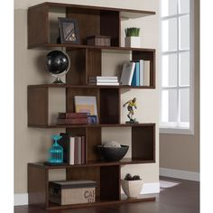 This modern bookshelf will add style and function to any room. With sturdy solid and open-end shelves, this beautiful birch veneer shelving unit is perfect for displaying your books, decor and more.