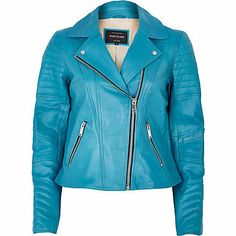 A standout design that will energise your new season wardrobe in an instant, this bright blue leather biker jacket is a super fresh update on an essential #riverisland