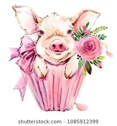 Illustration about Watercolor cute pig. Symbol 2019 new year. Illustration of face, head, card - 125607794 Pig Illustration, Watercolor Illustration, Watercolor Paintings, Wallpaper Fofos, Tout Rose, Pig Drawing, Pig Art, This Little Piggy, Cute Pigs