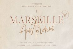 I am so happy to introduce my first font duo - Marseille & Amsterdam. Marseille is a creative & modern serif font inspired with French art and it's perfect Create A Signature, Signature Fonts, Script Fonts, New Fonts, Watercolor Font, Amsterdam, Modern Serif Fonts, Instagram Post Template, Creative Fonts