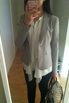 H&M ruffled blouse (white) by what.jess.wore, via Flickr
