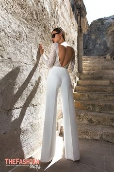 Eva Lendel Wedding Dresses 2018 Collection ❤ moderm bridal jumpsuit with open … Eva Lendel Wedding Dresses Collection 2018 ❤ Fashionable Bridal Jumpsuit with Open Back and Long Sleeves Trend 2018 Eva Lendel Kody ❤ See more: www. Mode Outfits, Fashion Outfits, Womens Fashion, Wedding Dresses 2018, Prom Dresses, Wedding Jumpsuit, Wedding Pants, White Pantsuit Wedding, Wedding Dress Suit