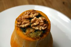 Culy Homemade: stuffed butternut squash with walnuts and rice / recipe http://www.culy.nl