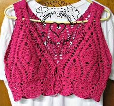 Cropped Tops Crochê - Tops em Crochê - Inspiração - Katia Ribeiro Moda e Decoração Handmade