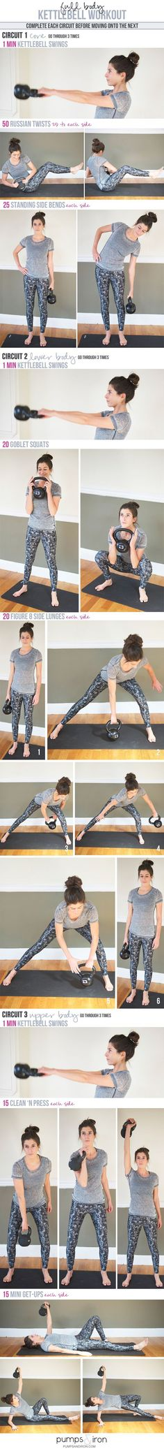 Full-Body Kettlebell Workout (made up of three mini circuits: the first focusing on core, then lower body, then upper body)