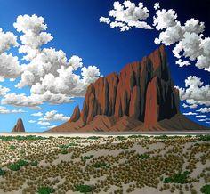Shiprock by Doug West Landscape Art, Landscape Paintings, Contemporary Landscape, Let's Make Art, Southwestern Art, Mexico Art, West Art, Seascape Paintings, Native American Art
