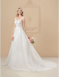 A-Line Princess Illusion Neckline Chapel Train Lace Satin Tulle Wedding Dress with Appliques Buttons by LAN TING BRIDE®