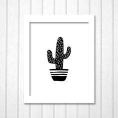 Monochrome Cactus Print | Black and White Hand Drawing Summer Cacti | Printable Wall Art Home Decor Nursery Kids Room Office Gift by TheDancingFingers on Etsy