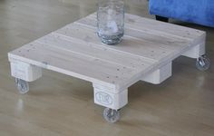 Coffee table white with wheels  low / vintage / by MadsWoodDesign