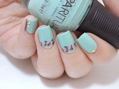 Floral half-moon #bluemani #mint #floral #nailart - bellashoot.com