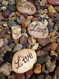 Instead of LIVE    LOVE    LAUGH   I decided to switch up the rocks in my garden