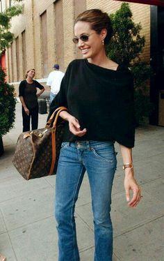 """sweetjoliee: """"Street style by Angelina Jolie. """""""