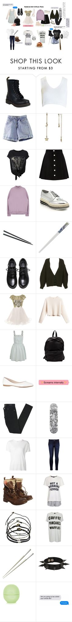 """""""Linie Zhong (OC)"""" by elliotchasesthestars ❤ liked on Polyvore featuring Dr. Martens, Sans Souci, ABS by Allen Schwartz, AG Adriano Goldschmied, Prada, Fuji, STELLA McCARTNEY, Officine Creative, Unis and Yves Saint Laurent"""