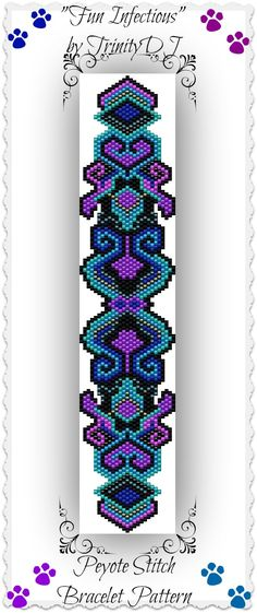 "New Peyote stitch bracelet pattern listed in my Etsy shop - ""Fun Infectious"" - I designed this bracelet so it could be stitched up quickly for those of you who asked for patterns that will go fast as you want to stitch a couple for Christmas gifts. Hope you like it. Please follow this link for the direct download: https://www.etsy.com/listing/169194717/bp-pey-013-fun-infectious-peyote-stitch"
