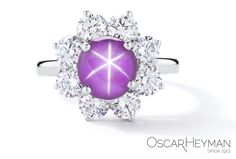 Platinum Star Ruby Diamond Ring by Oscar Heyman Brothers