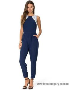 Dorothy Perkins - Embellished Jumpsuit - Navy - DO894AA81GMO - Women - Clothing - Jumpsuits Playsuits_4.jpg (490×627)