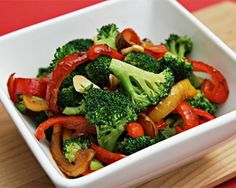 Sautéed Broccoli with Yellow and Red Bell Peppers Recipe--awesome for enhancing your quinoa/brown rice pasta