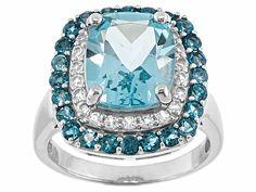 Any woman with a December birthday will love this blue topaz birthstone ring! | 3.72ct Glacier Topaz(Tm), .42ctw Round Barehipani Topaz(Tm), .31ctw Round White Topaz Silver Ring