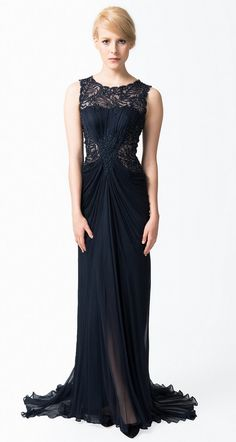 Beaded Crinkle Chiffon Gown in Navy - Evening Gowns - Evening Shop 05a33f13b6cb