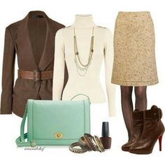 Brown cream and a touch of mint work outfit