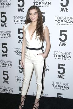 Who says you can't wear white after Labor Day? We love Hailee Steinfeld's jumpsuit at the celebration for the opening of the Topshop Topman New York City Flagship store.