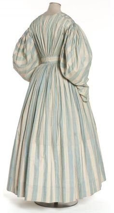 Dress 1830-1835 Les Arts Décoratifs  French. Oh the softness of the wide stripes in this style. I really like this.