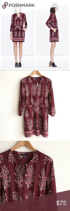 NWT Madewell Silk Lassi Flower Dress Burgundy color long sleeve 100% silk dress with floral print. Elastic/cinched at waist. Split neckline. Pockets. Brand new, with tags attached. Madewell Dresses Long Sleeve