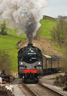 British Railways Tank Locomotive approaching Oakworth on the Keighley and Worth Valley Railway, Yorkshire, England. Train Art, By Train, Train Tracks, Train Rides, New Engine, Steam Engine, Train Nursery, Train Illustration, Old Steam Train