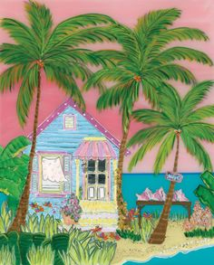 Conch Cottage with pink skies...