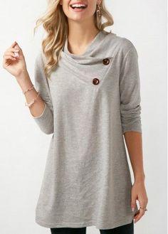 Women Spring Basic T Shirt Button Embellished Long Sleeve Grey Sweatshirt Blouse, Shirt Dress, Looks Plus Size, Mode Hijab, Printed Sweatshirts, Fashion Sweatshirts, Outerwear Women, Grey Sweatshirt, Red Hoodie