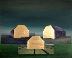 golden morning - Airco Caravan 22 Carat Gold, Canvas Board, Artists, House, Haus, Homes, Artist