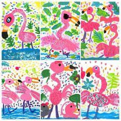 Flamingos getting ready for summer! Summer Art Projects, School Art Projects, First Grade Art, Animal Art Projects, Kindergarten Art Projects, Flamingo Art, Ecole Art, Spring Art, Art Lessons Elementary