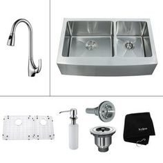 Kraus�16-Gauge Double-Basin Apron Front Stainless Steel Kitchen Sink with Faucet