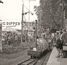 The Far Tottering & Oystercreek Railway Roland Emmett's whimsical creation was a popular attraction at the 1951 Festival of Britain at Battersea Pleasure Park. Three locomotives were created using 15in gauge 4.6.2 machines supplied by Barlow of Southport, their diesel engines being located in dummy tenders. From Flickr © Kevin Lane This is 'Wild Goose', about to leave Far Tottering station on 20 September, from a negative taken by the late Mervyn Mason,