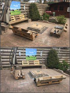 Self made Firepit & pallet bench