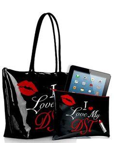 GIFT SET - I Love My DST Lipstick Kiss Zippered Tote Bag & Clutch
