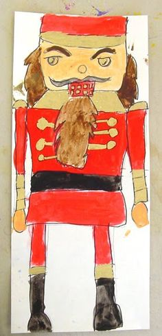 My nutcracker painting tutorial on how to draw a nutcracker is designed to counteract the tendency for young artists to draw really small.