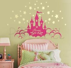 princess_castle_decal Princess Castle with Name Wall Sticker adesivo de parede wallpaper papel de parede sitcker decal wall vynil